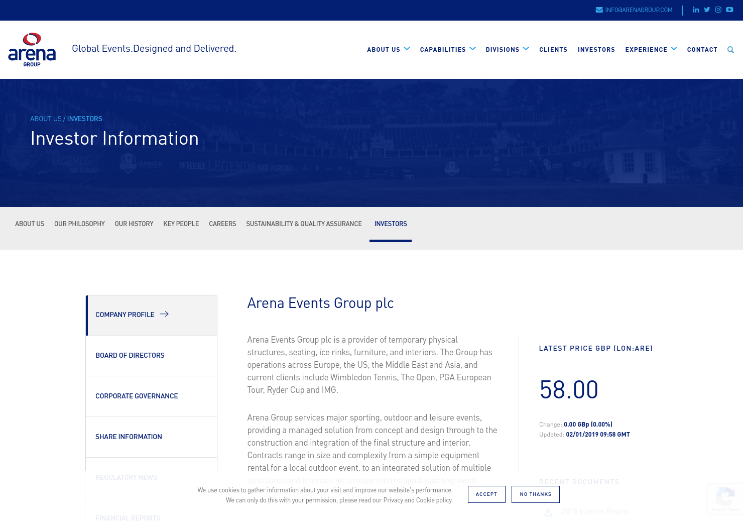 Arena Events Group Home Page