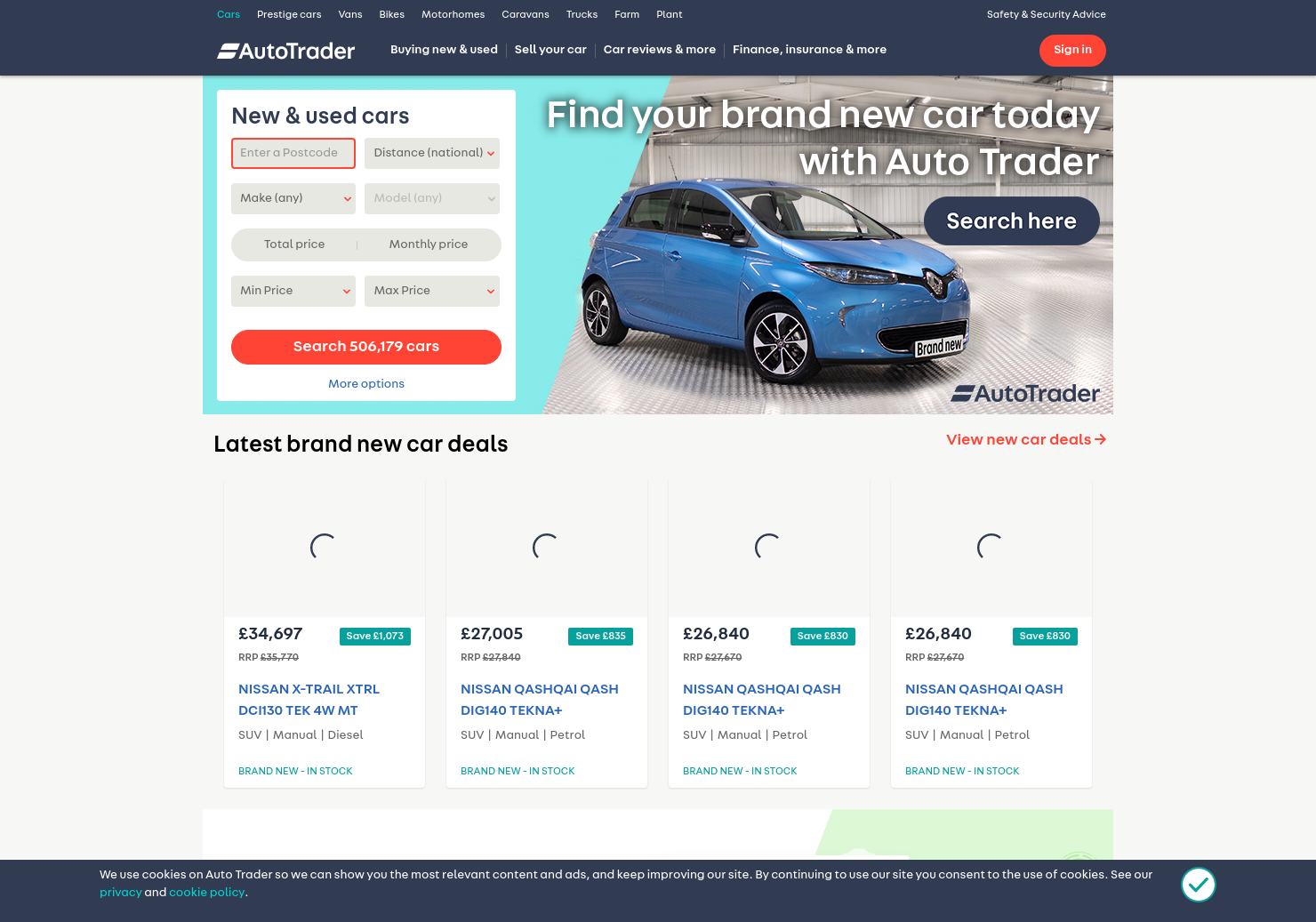 Auto Trader Home Page