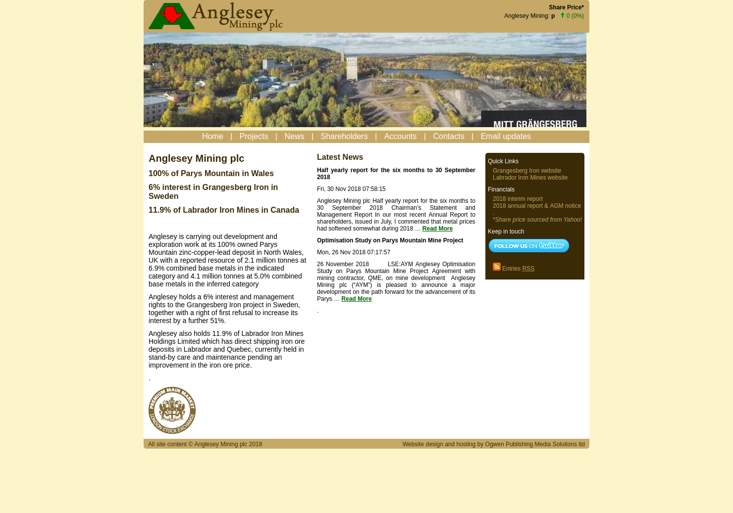 Anglesey Mining Home Page