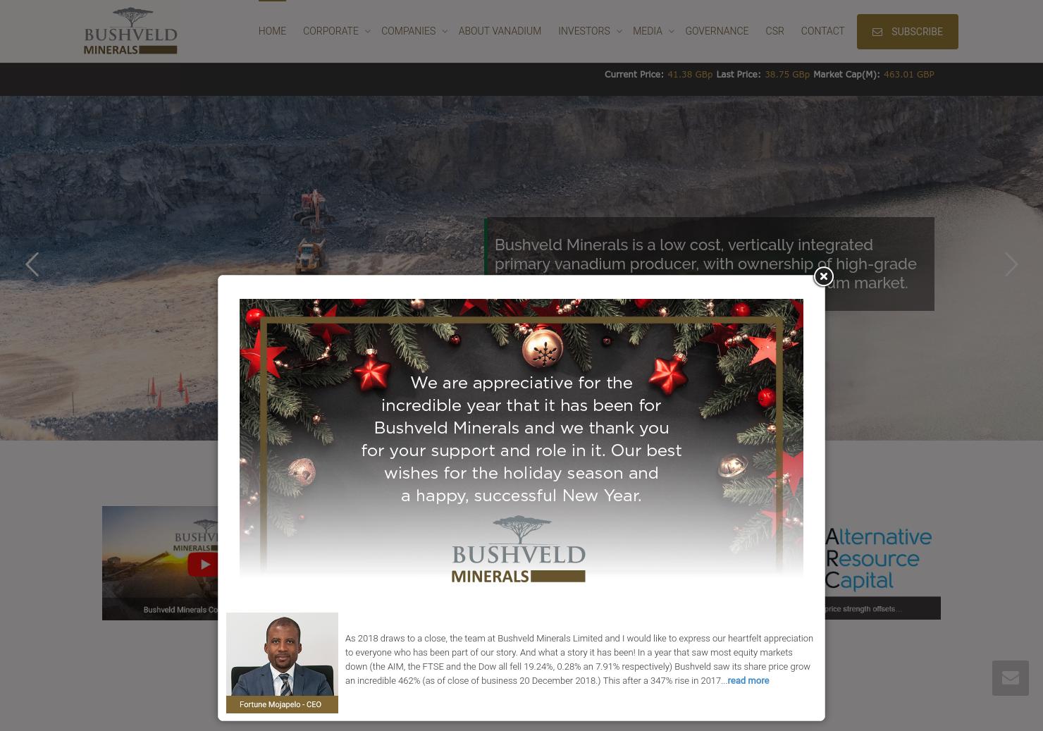 Bushveld Minerals Home Page