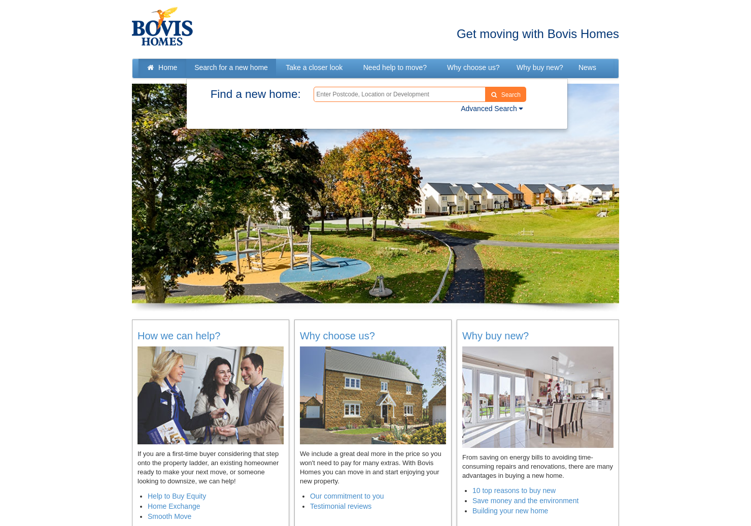 Bovis Homes Home Page