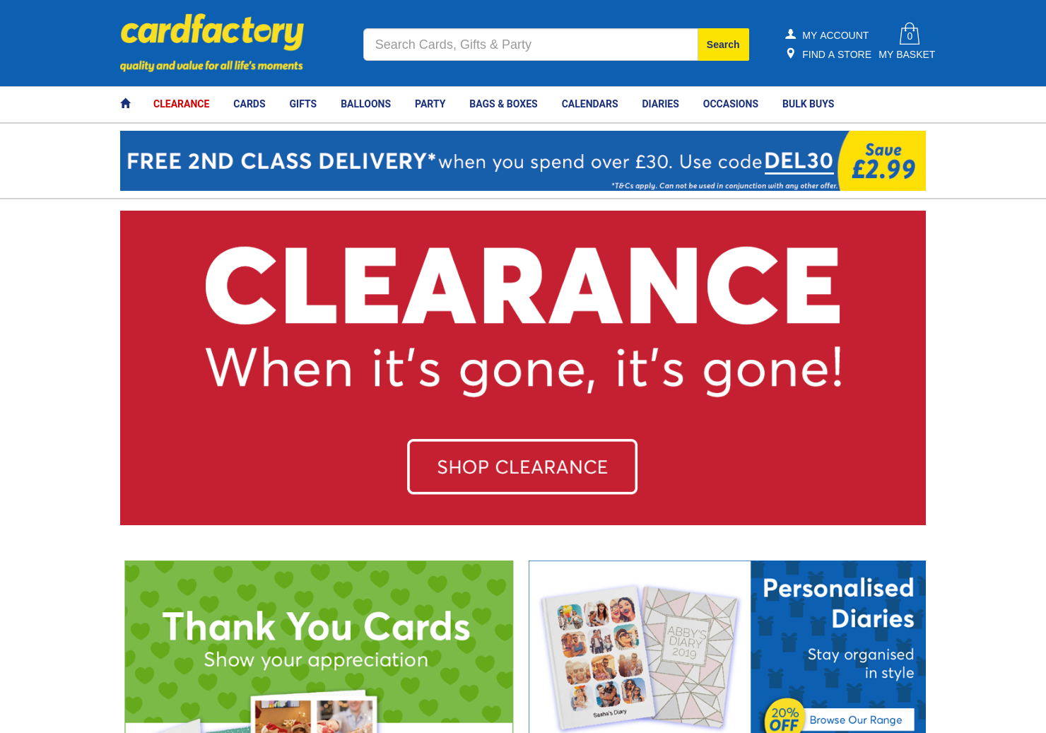 Card Factory Home Page