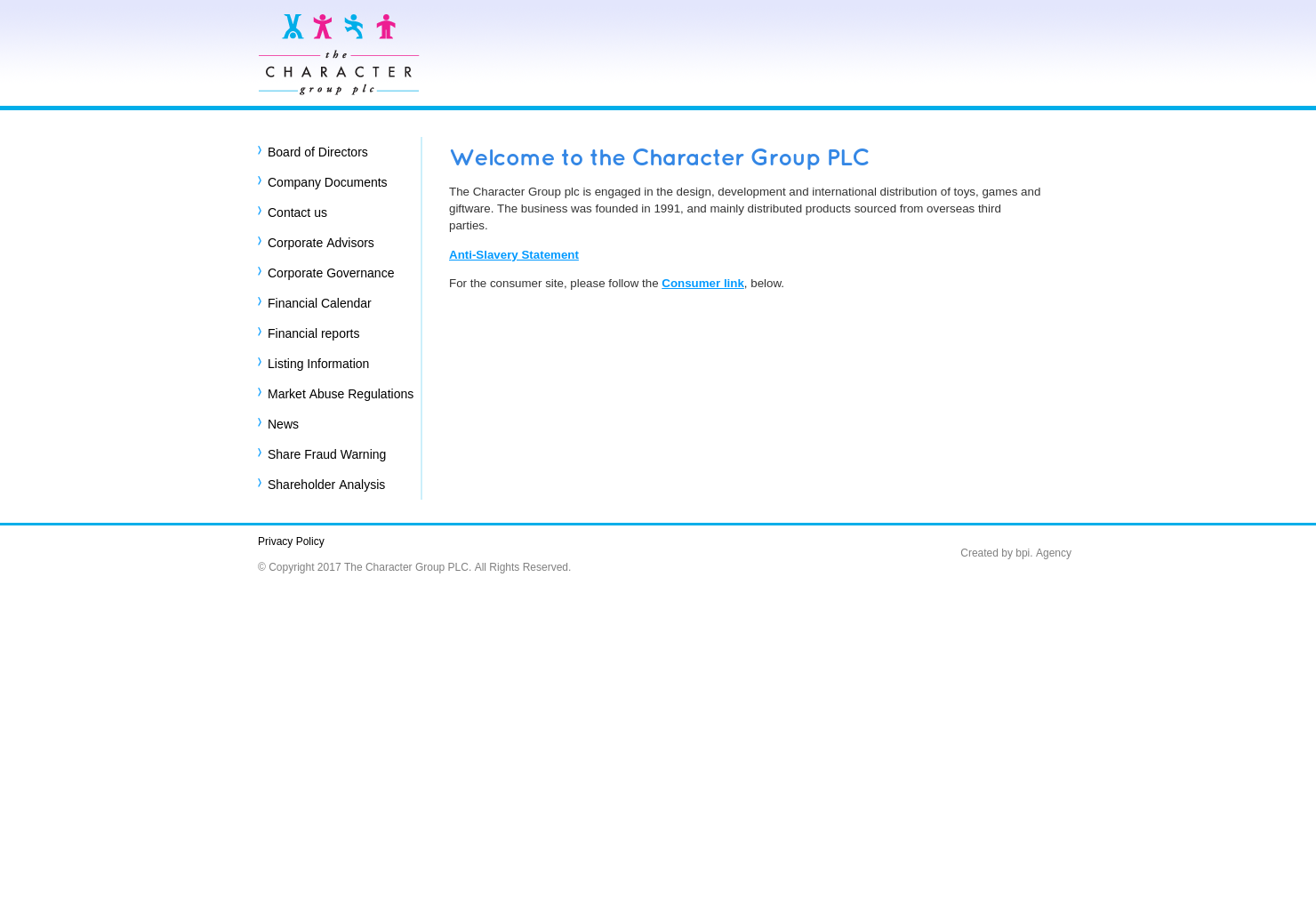 Character Home Page