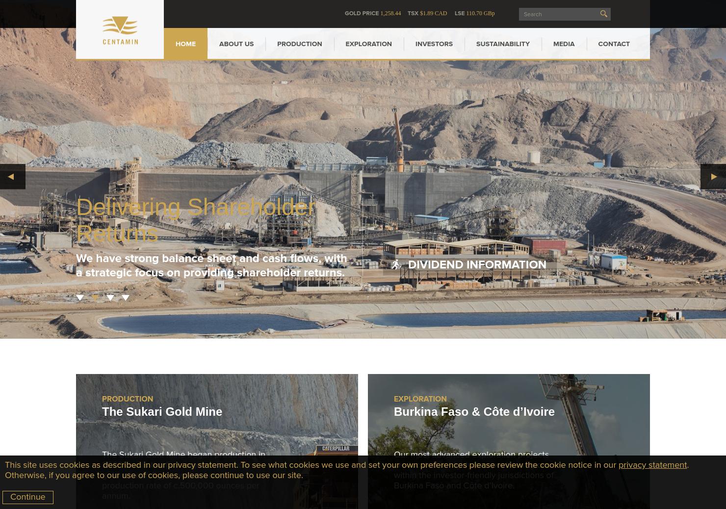 Centamin PLC Home Page