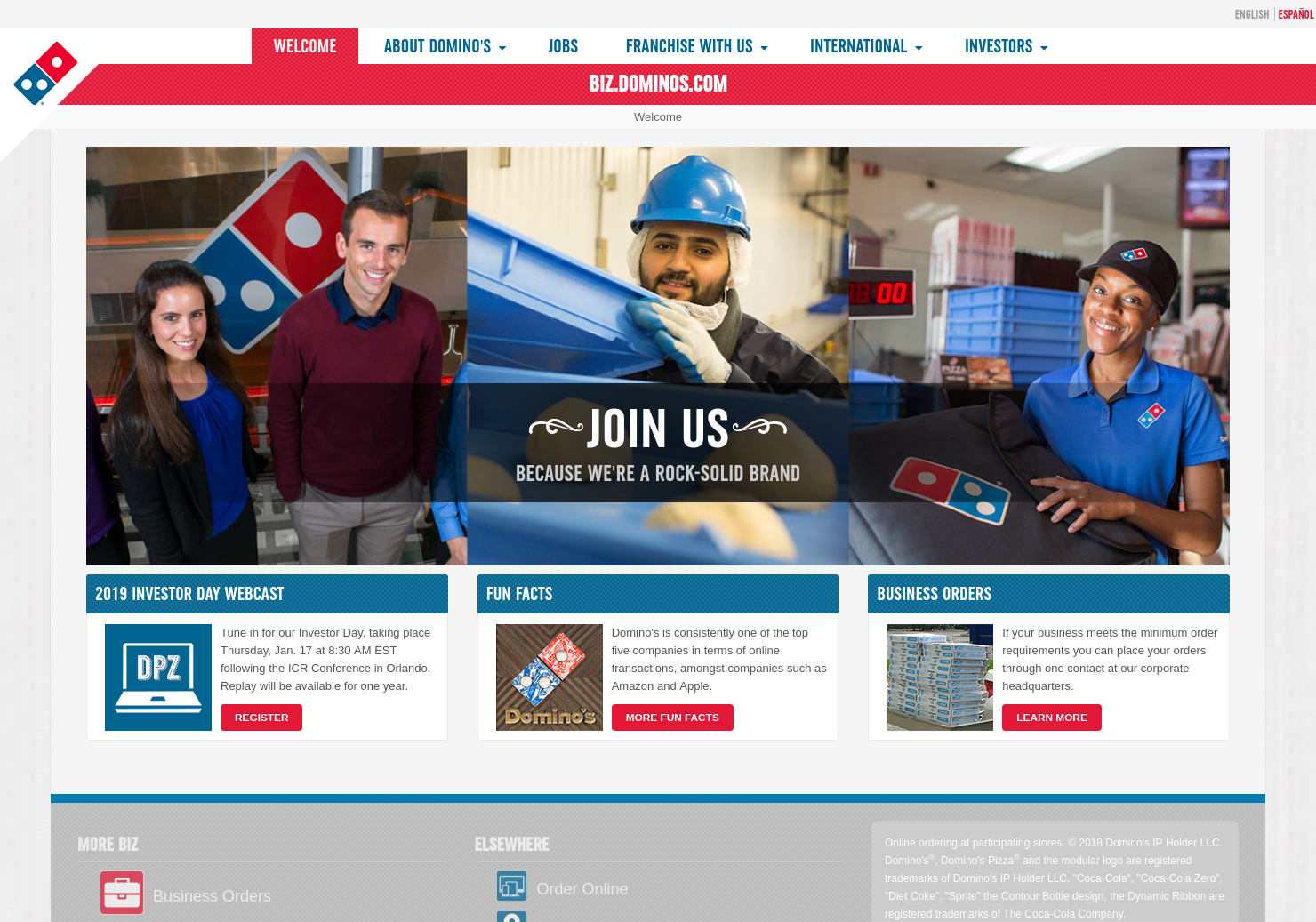 Dominos Home Page