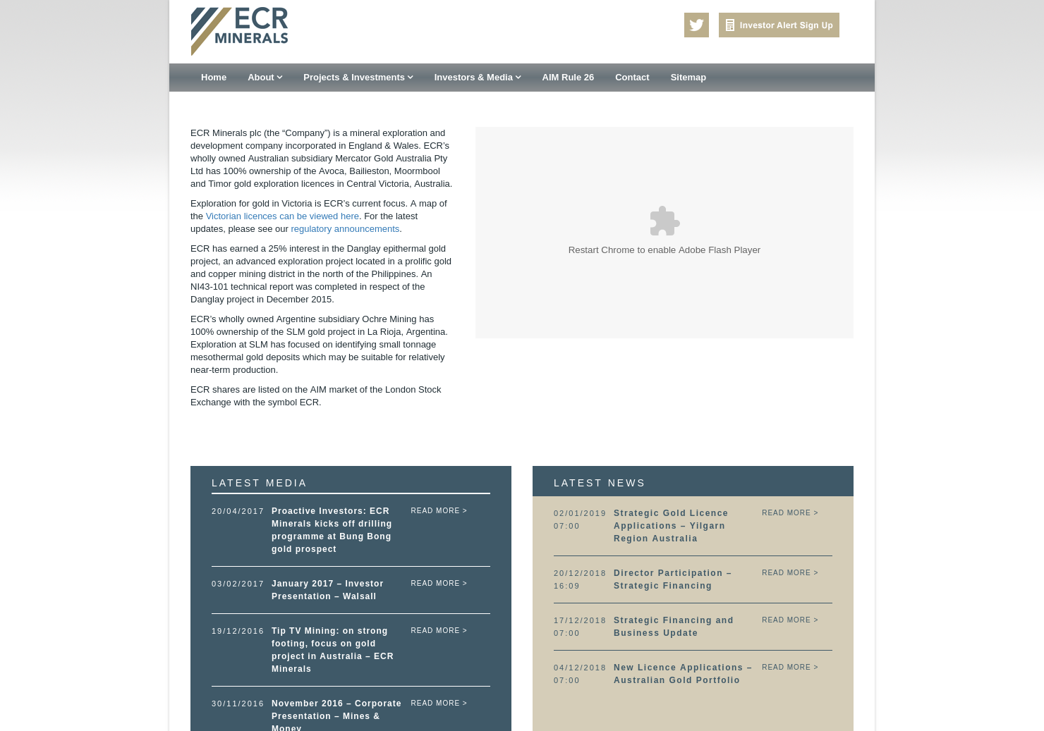 ECR Minerals Home Page