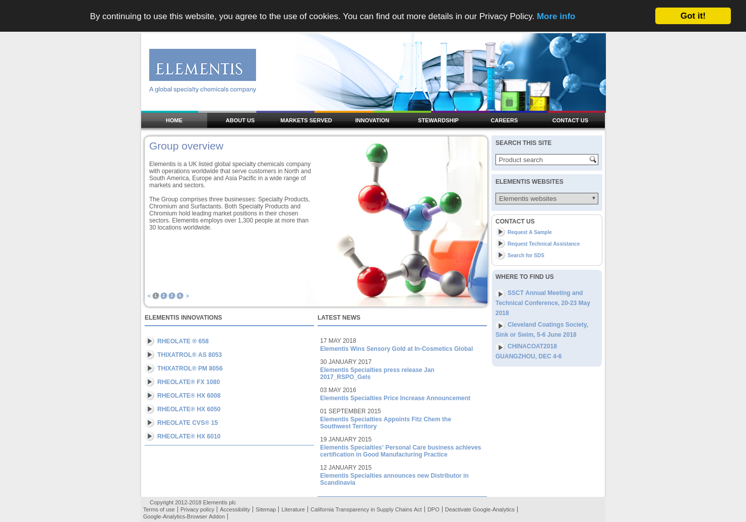 Elementis Home Page
