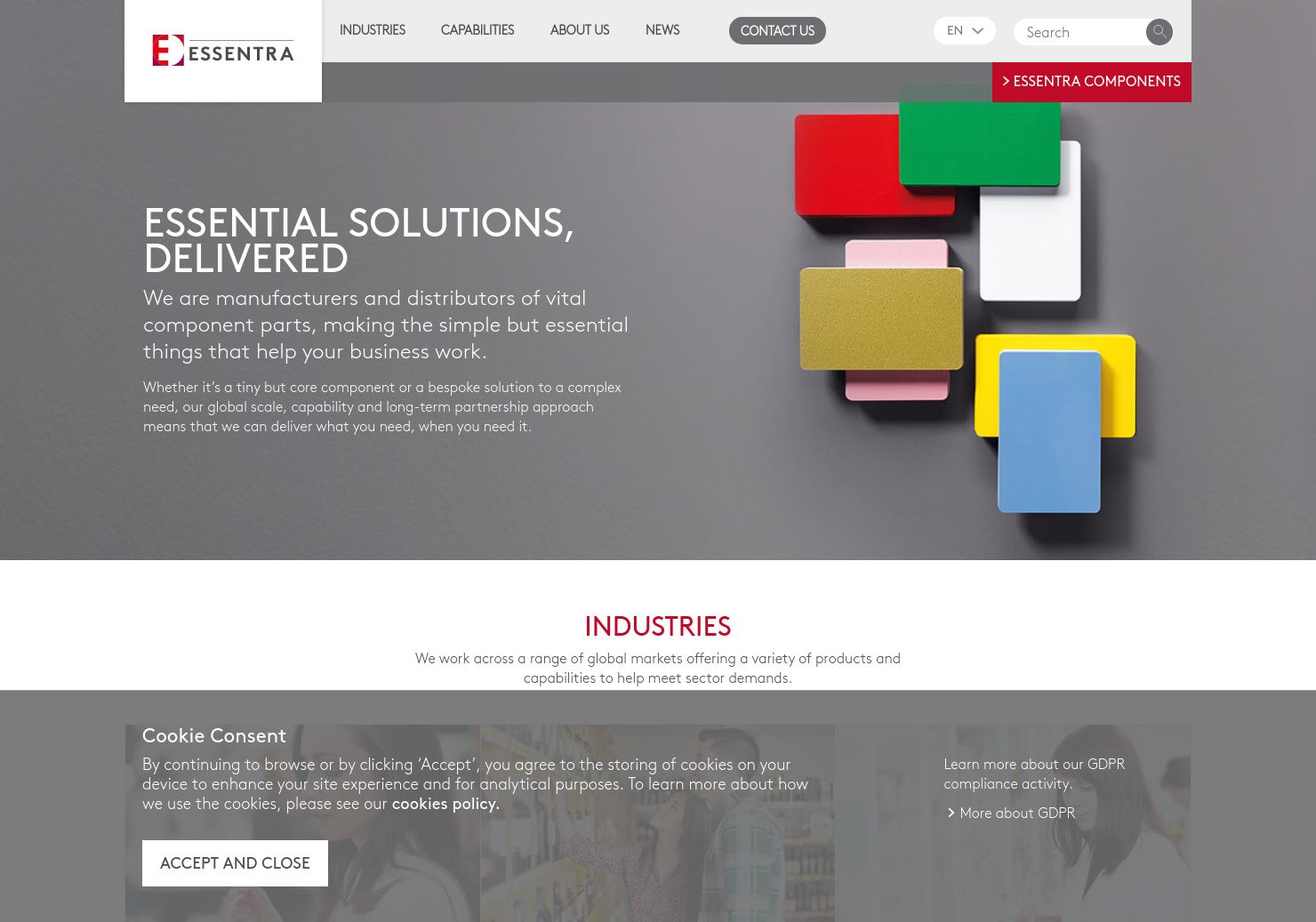 Essentra Home Page