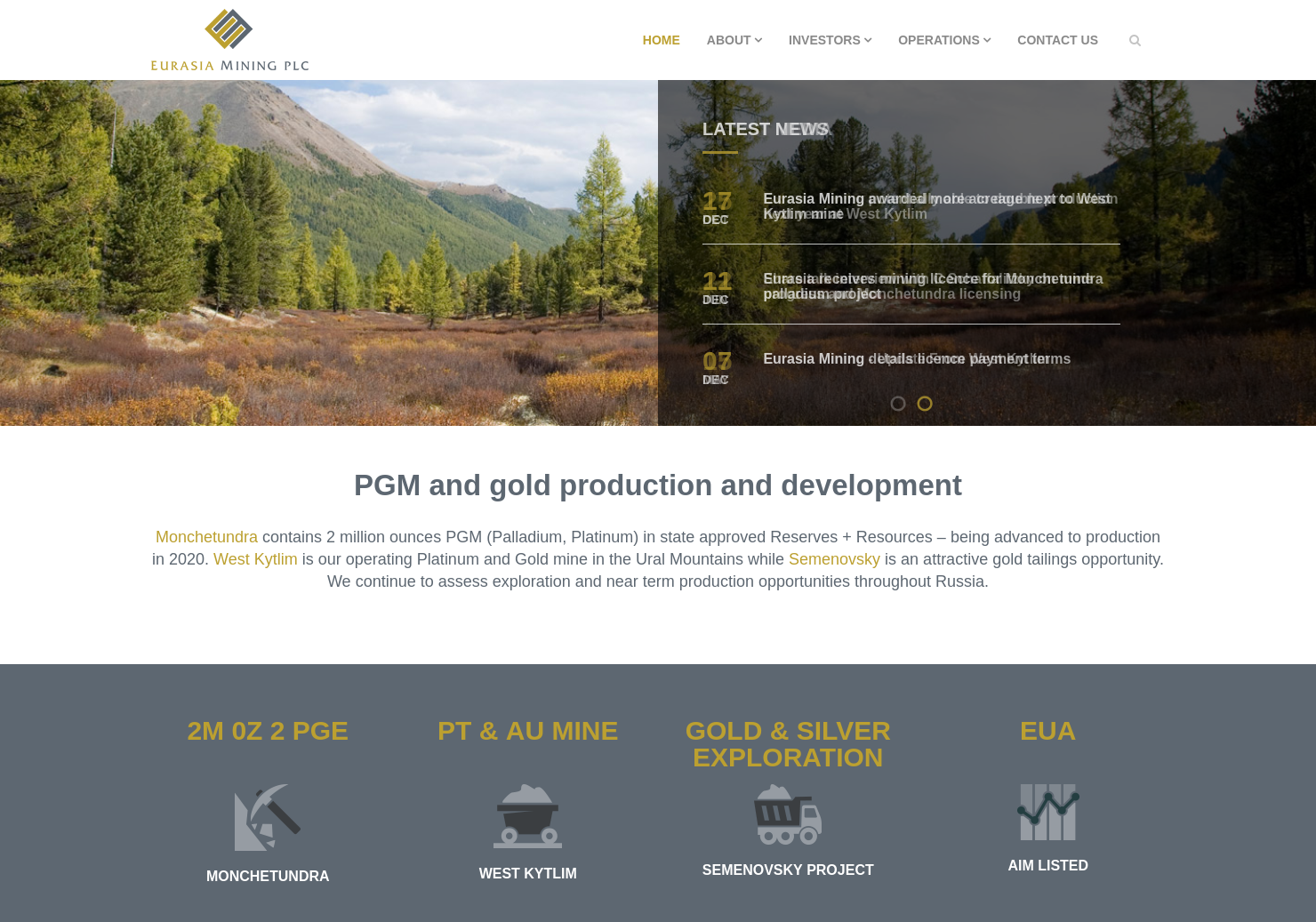 Eurasia Mining Home Page
