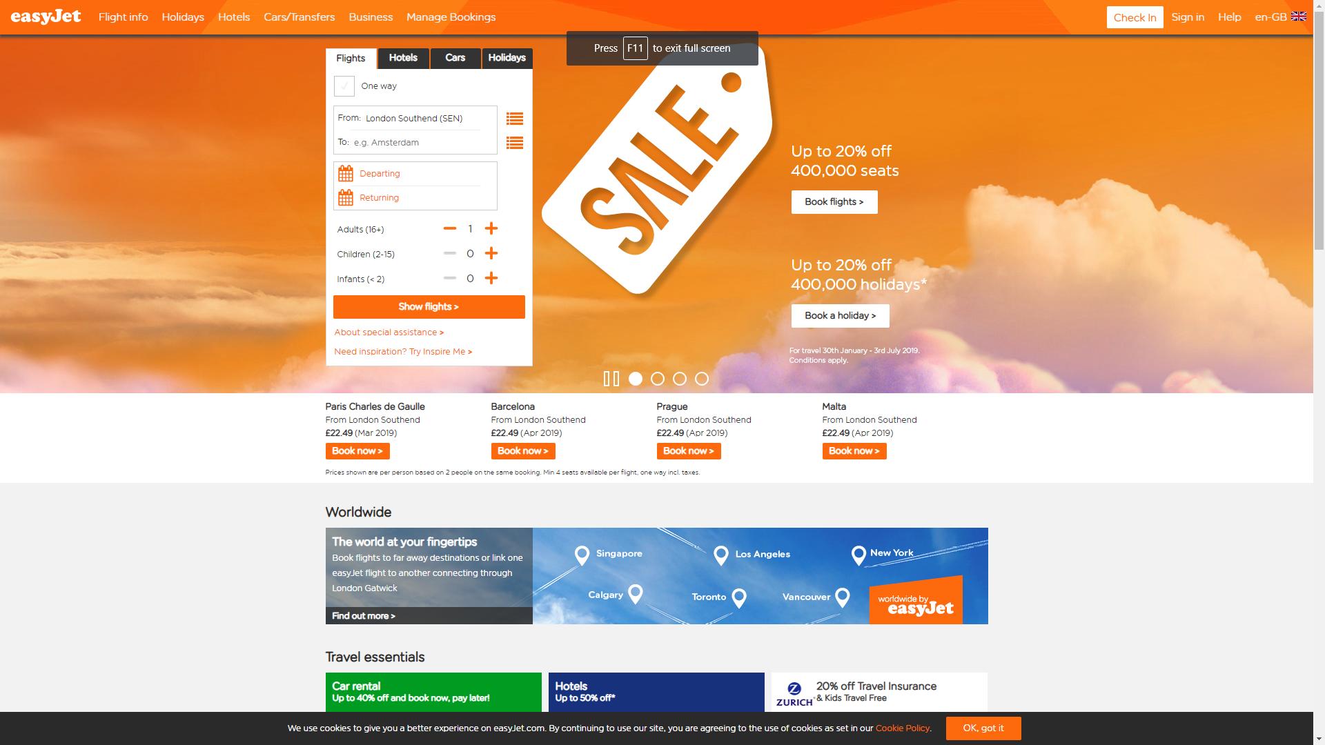 easyJet Home Page