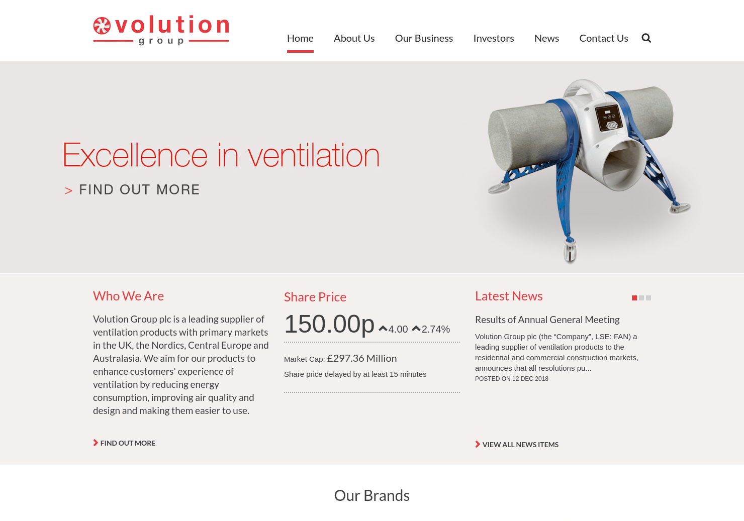 Volution Group PLS Home Page
