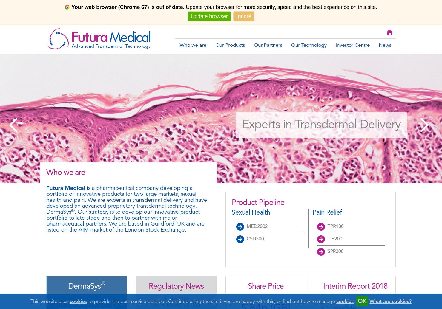 Futura Medical Home Page
