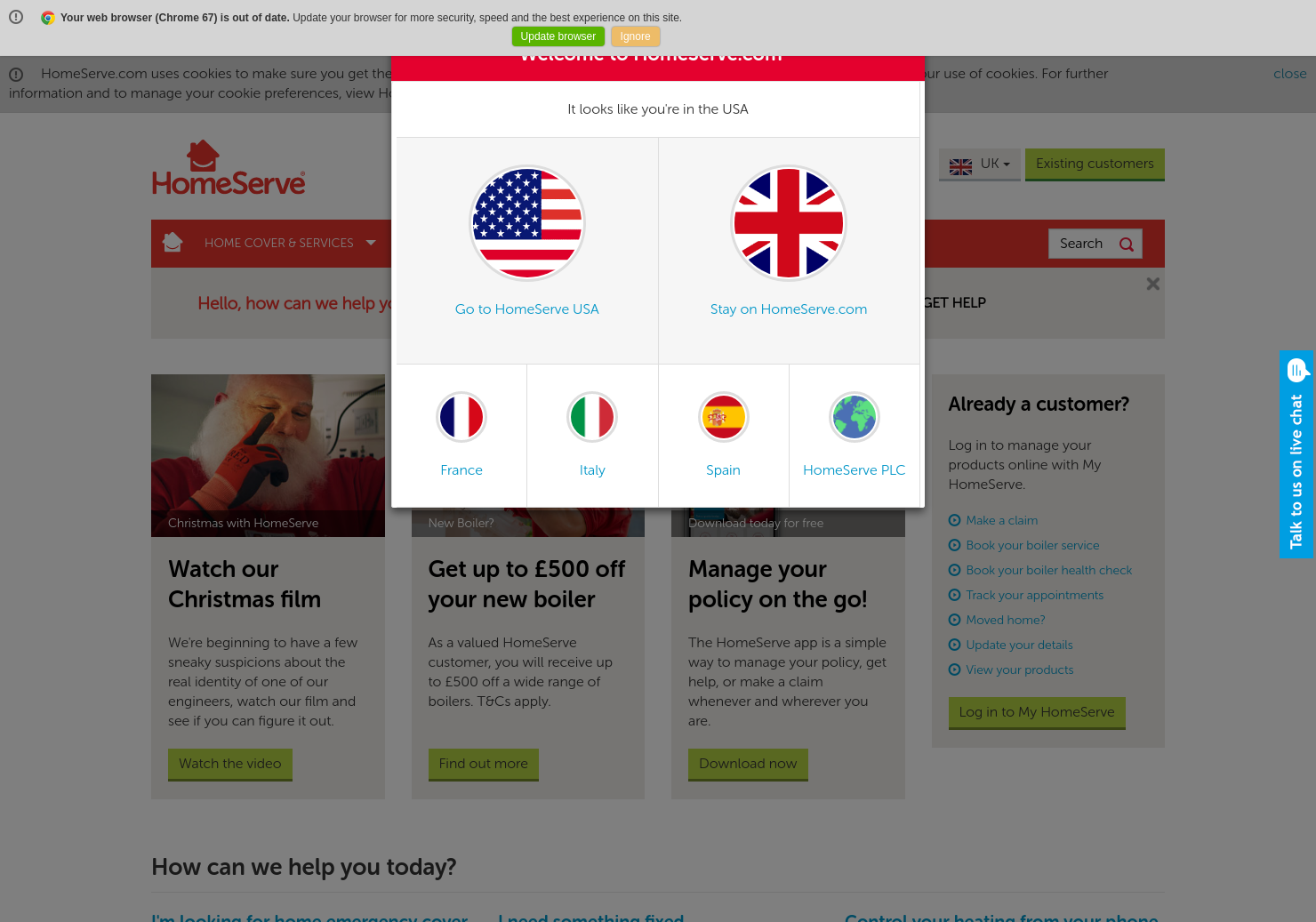 Homeserve Home Page
