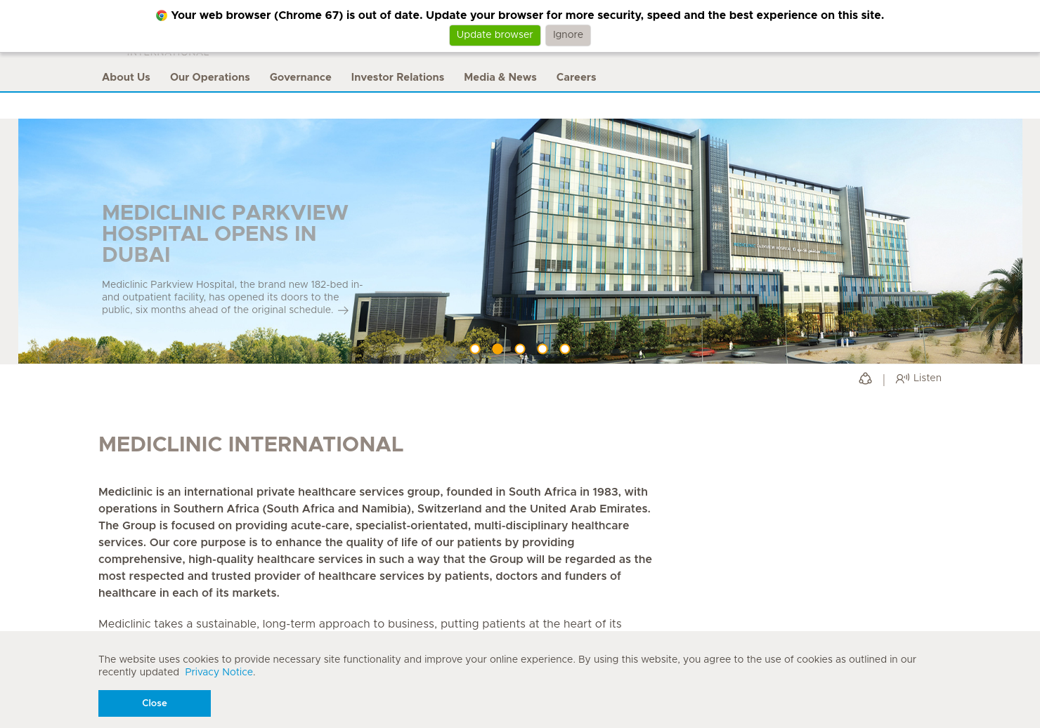 Mediclinic International Home Page