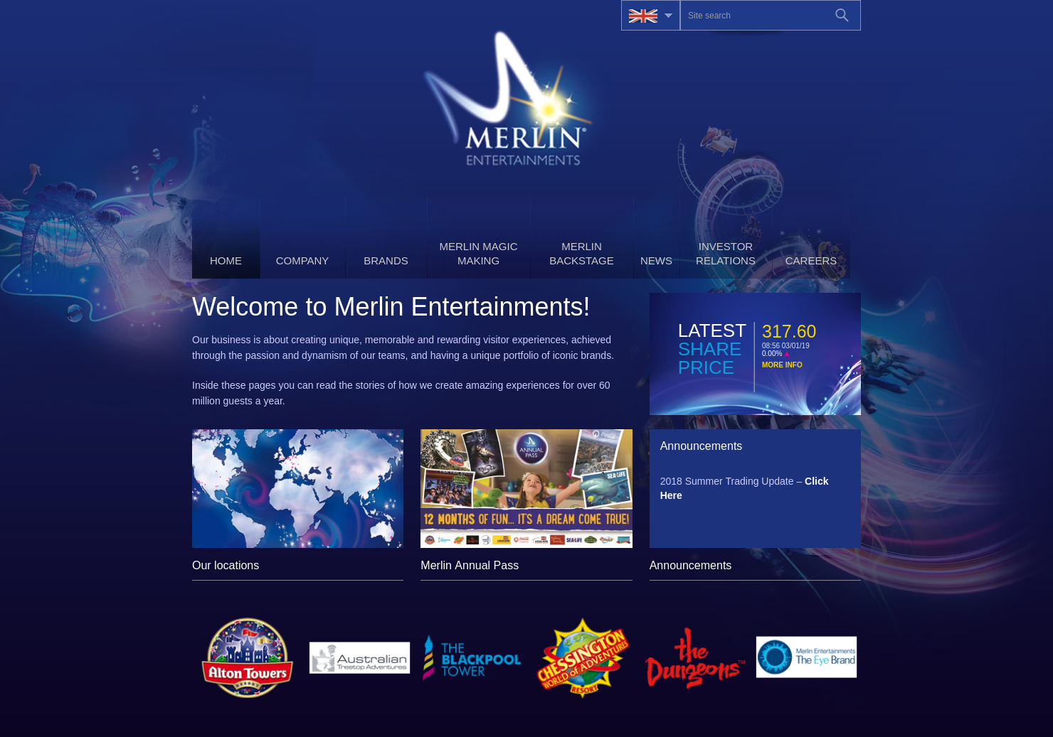 Merlin Entertainments Home Page