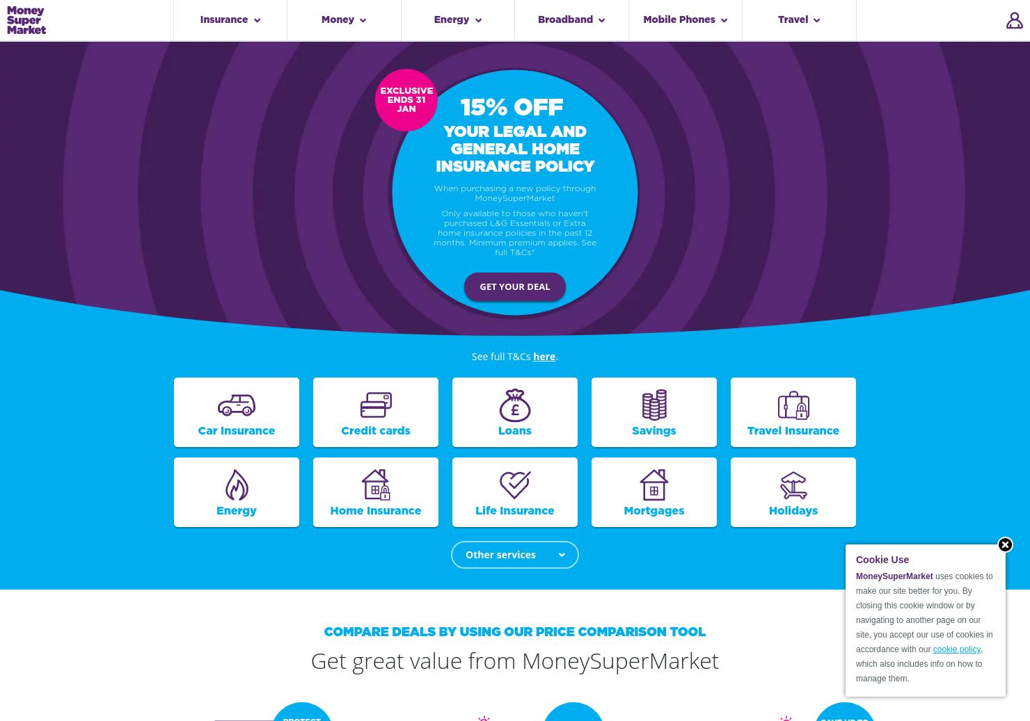 Moneysupermarket.Com Home Page