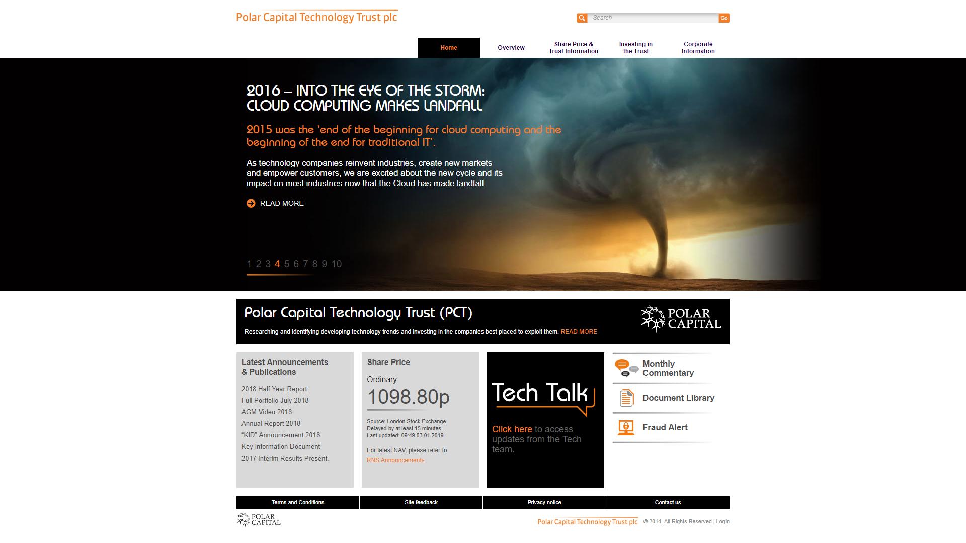 Polar Capital Technology Trust Home Page