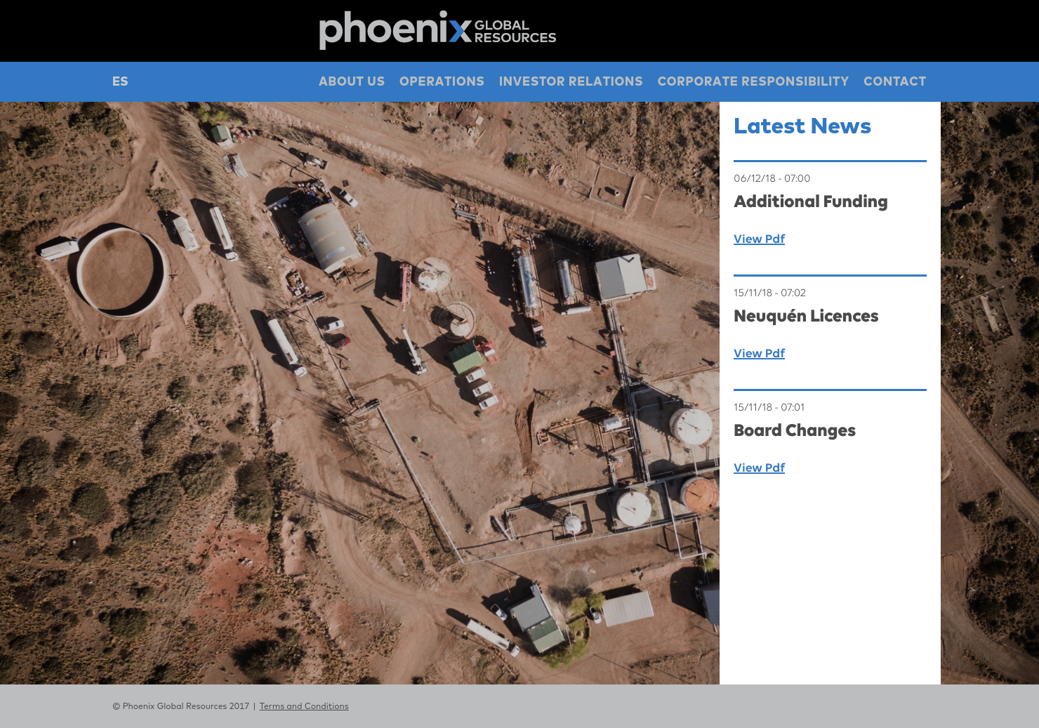 Phoenix Global Resources Home Page
