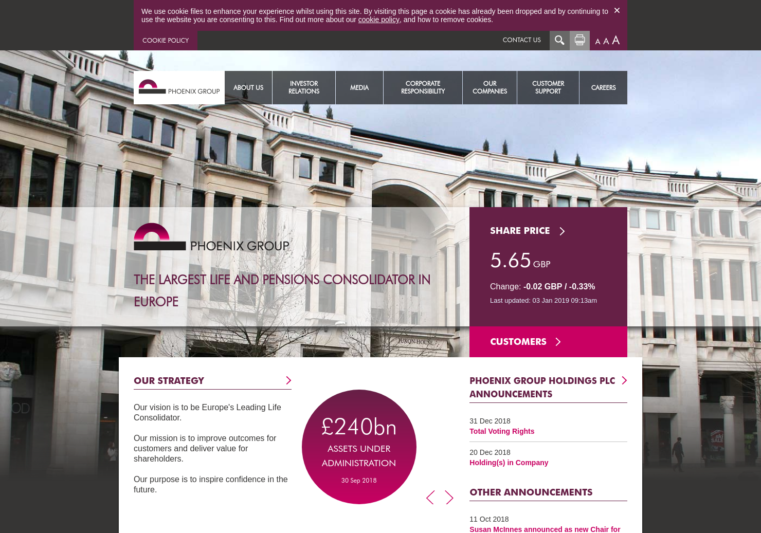 Phoenix Group Holdings Home Page