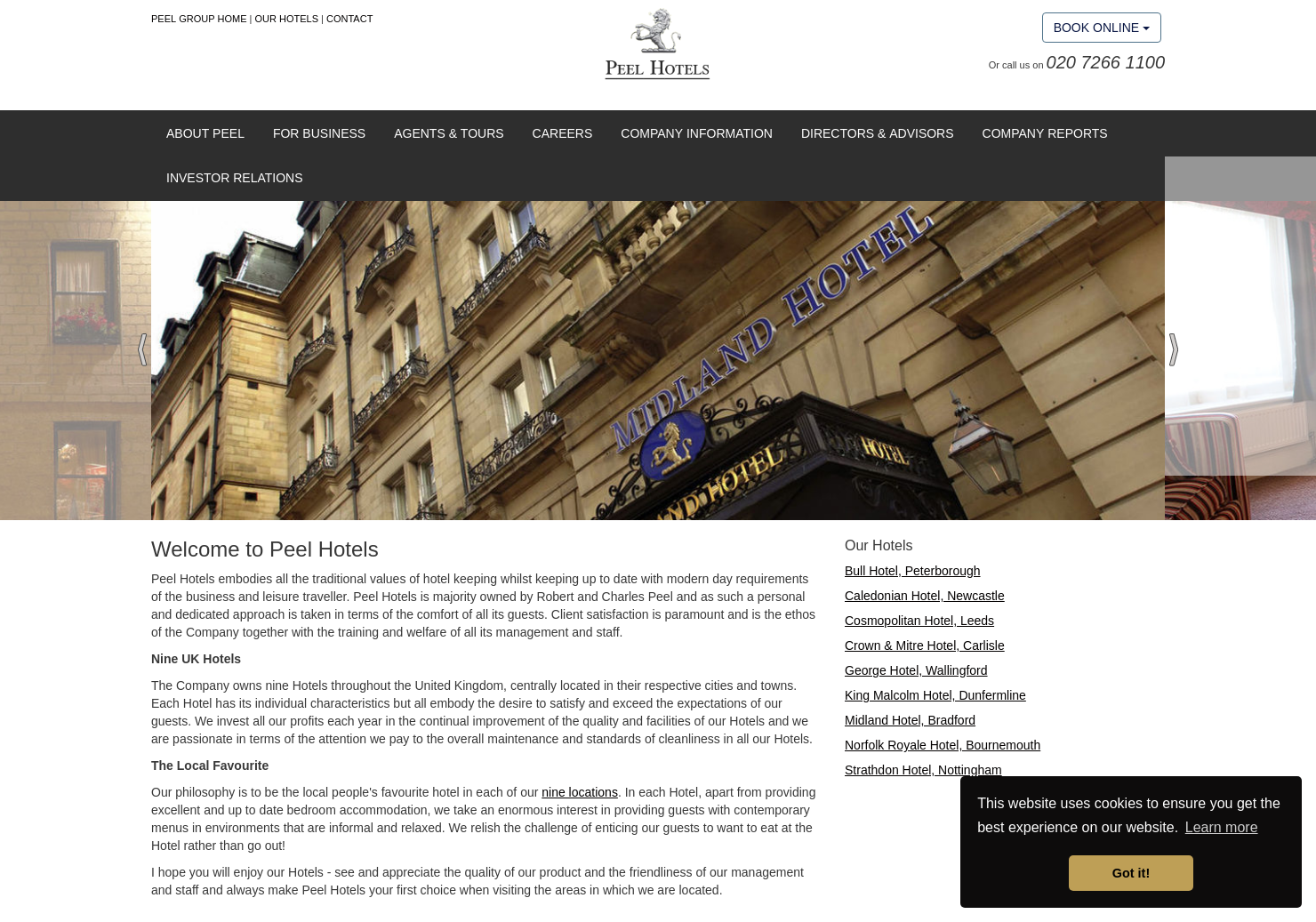 Peel Hotels Home Page
