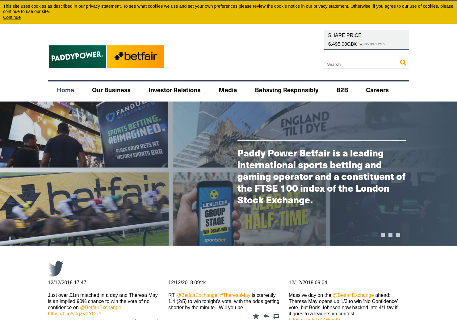 Paddy Power Betfair Home Page