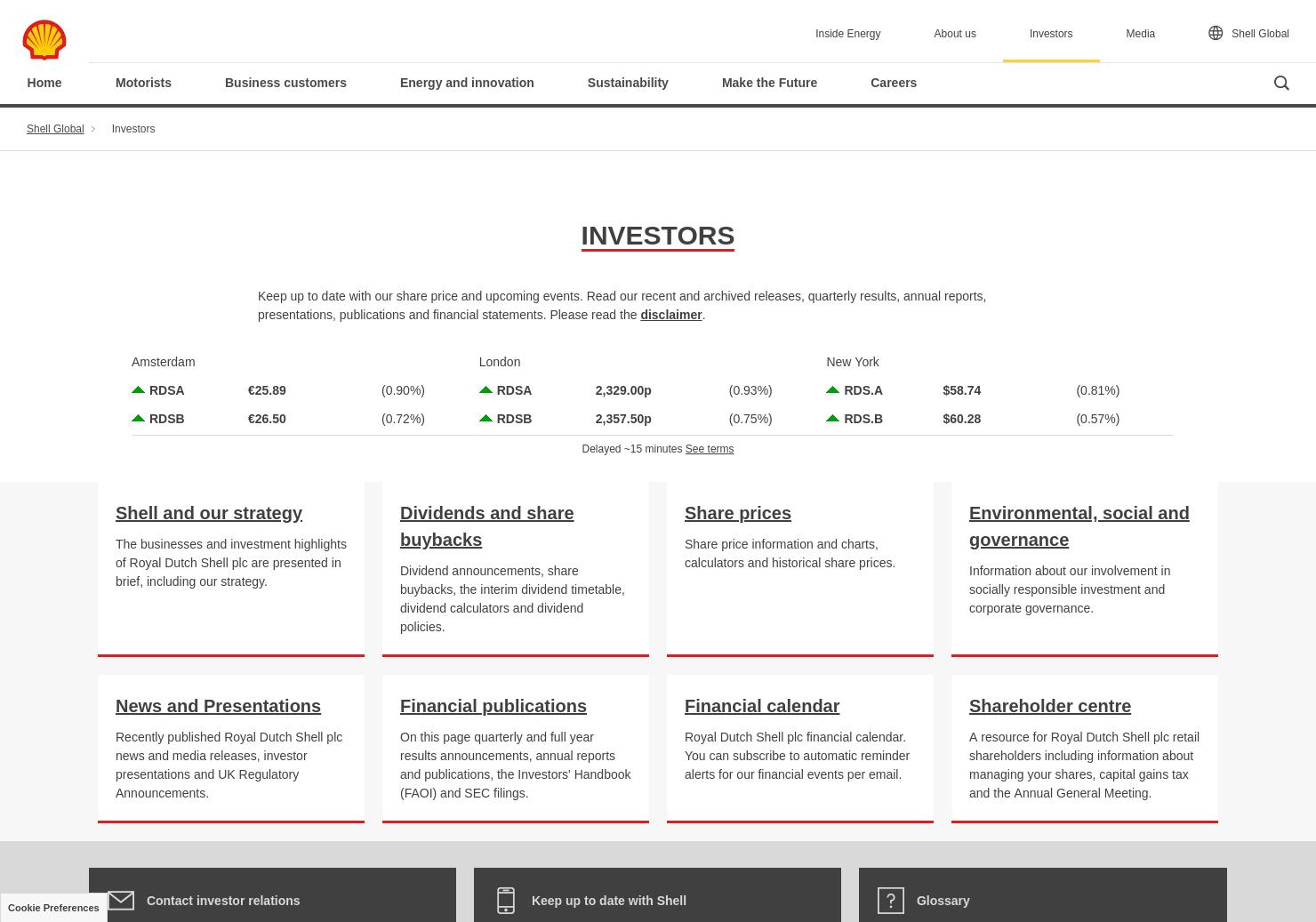 Royal Dutch Shell B Home Page