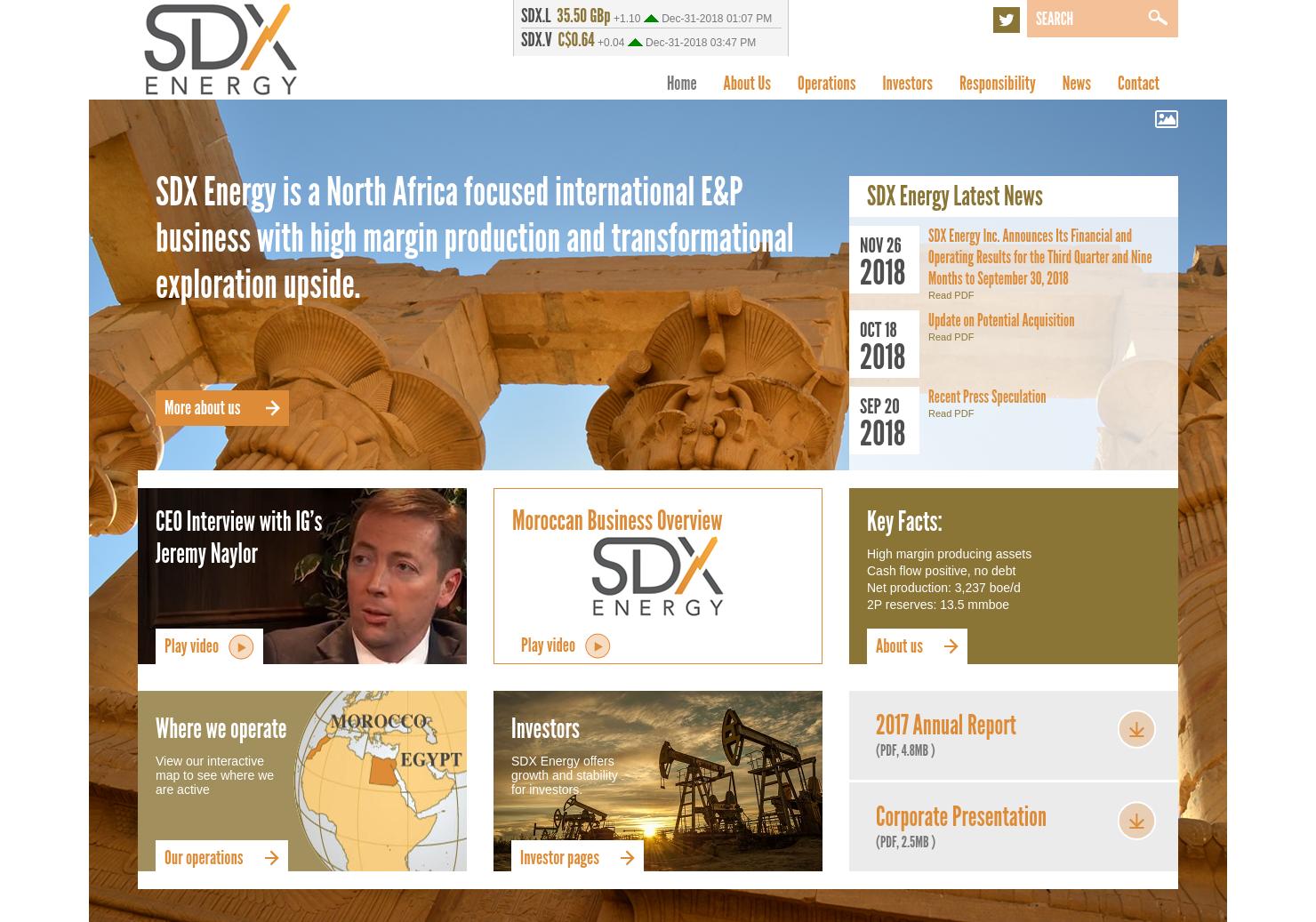 SDX Energy Home Page