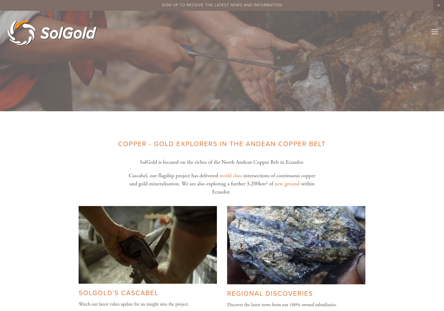SolGold Home Page