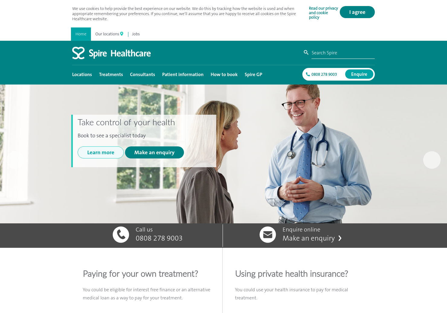 Spire Healthcare Home Page