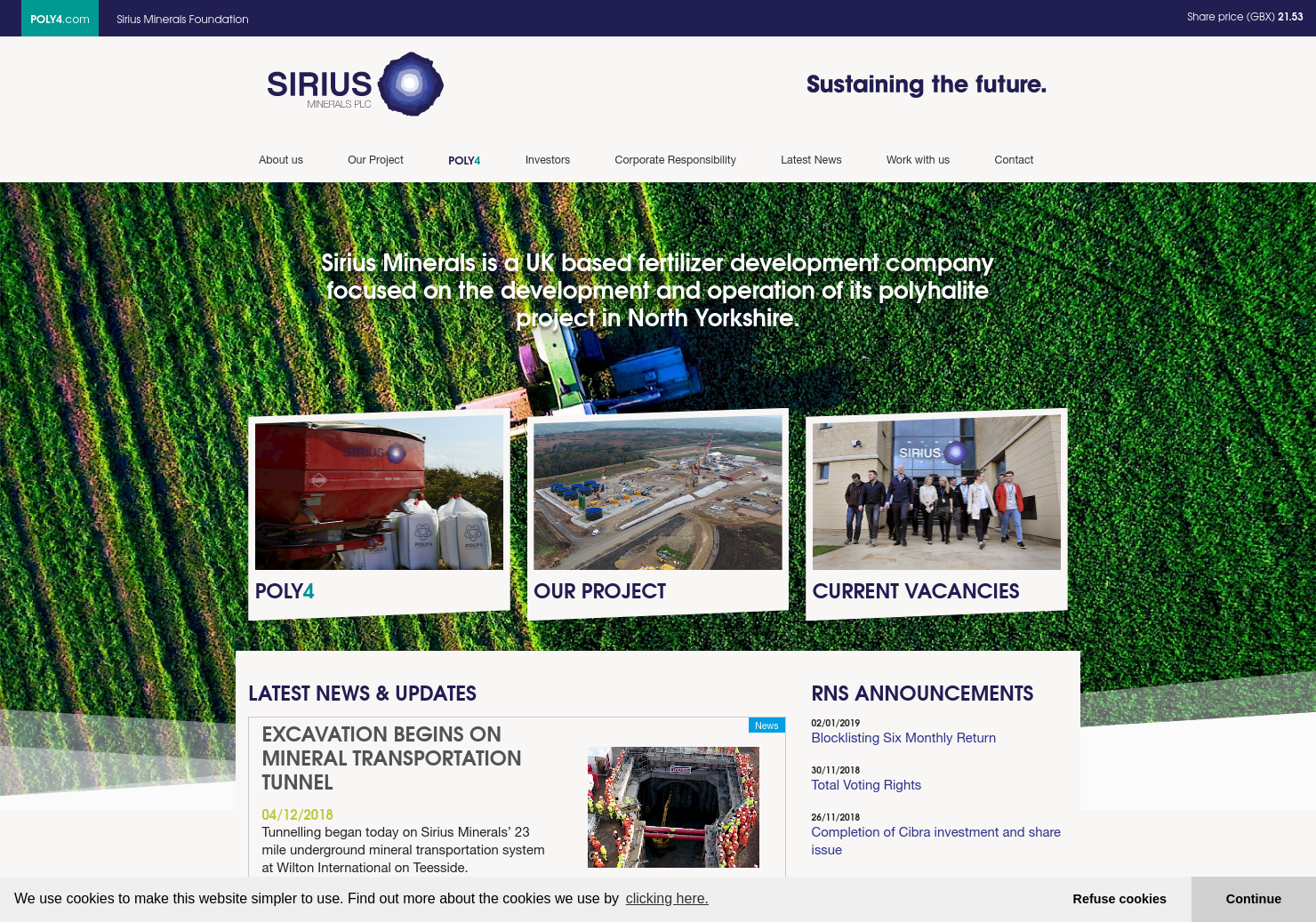 Sirius Minerals Home Page