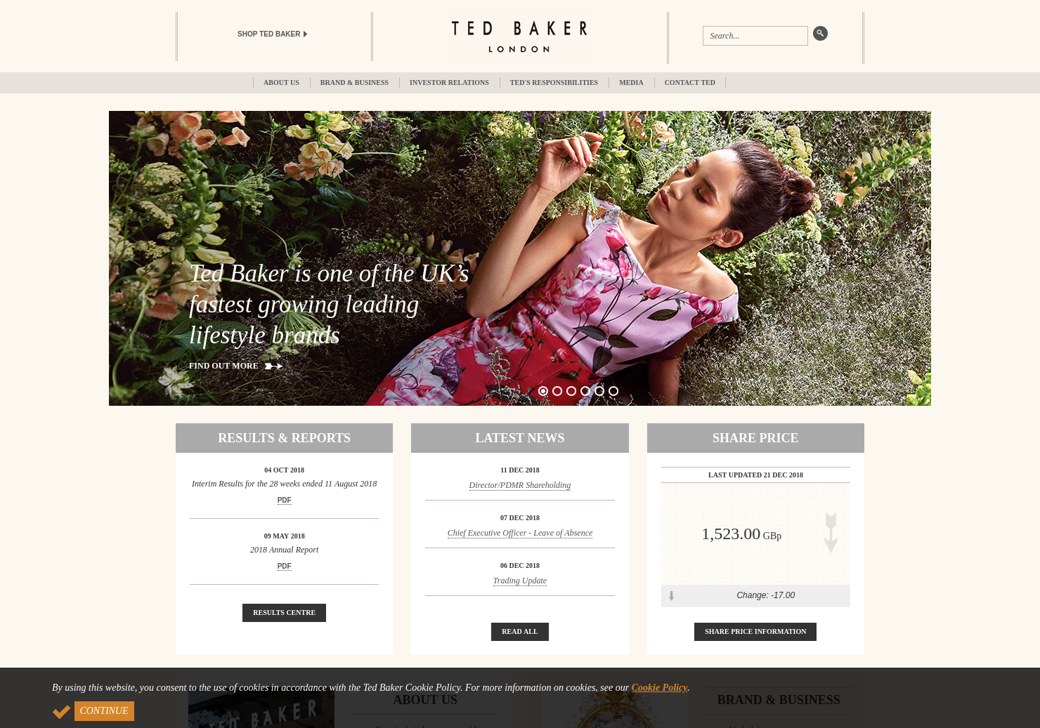 Ted Baker Home Page