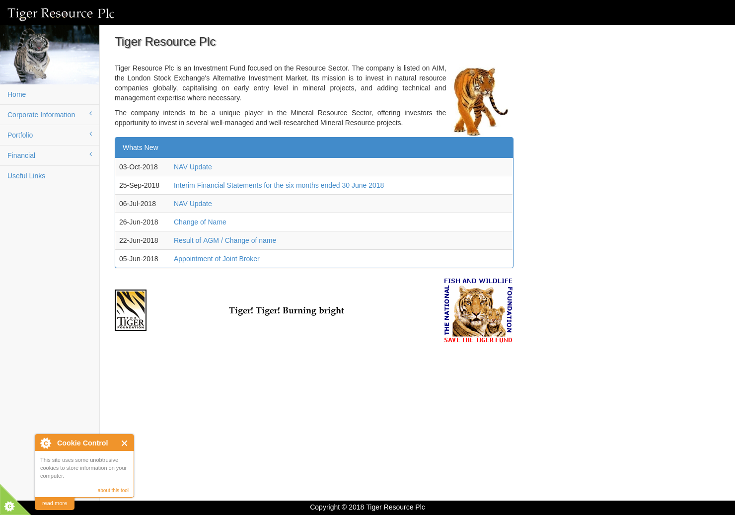 Tiger Resource Home Page