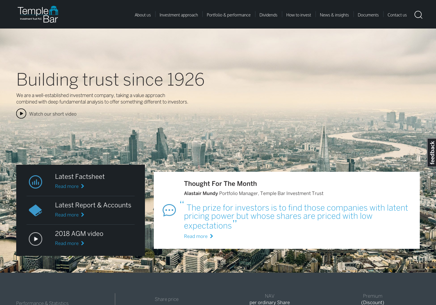 Temple Bar Investment Trust Home Page