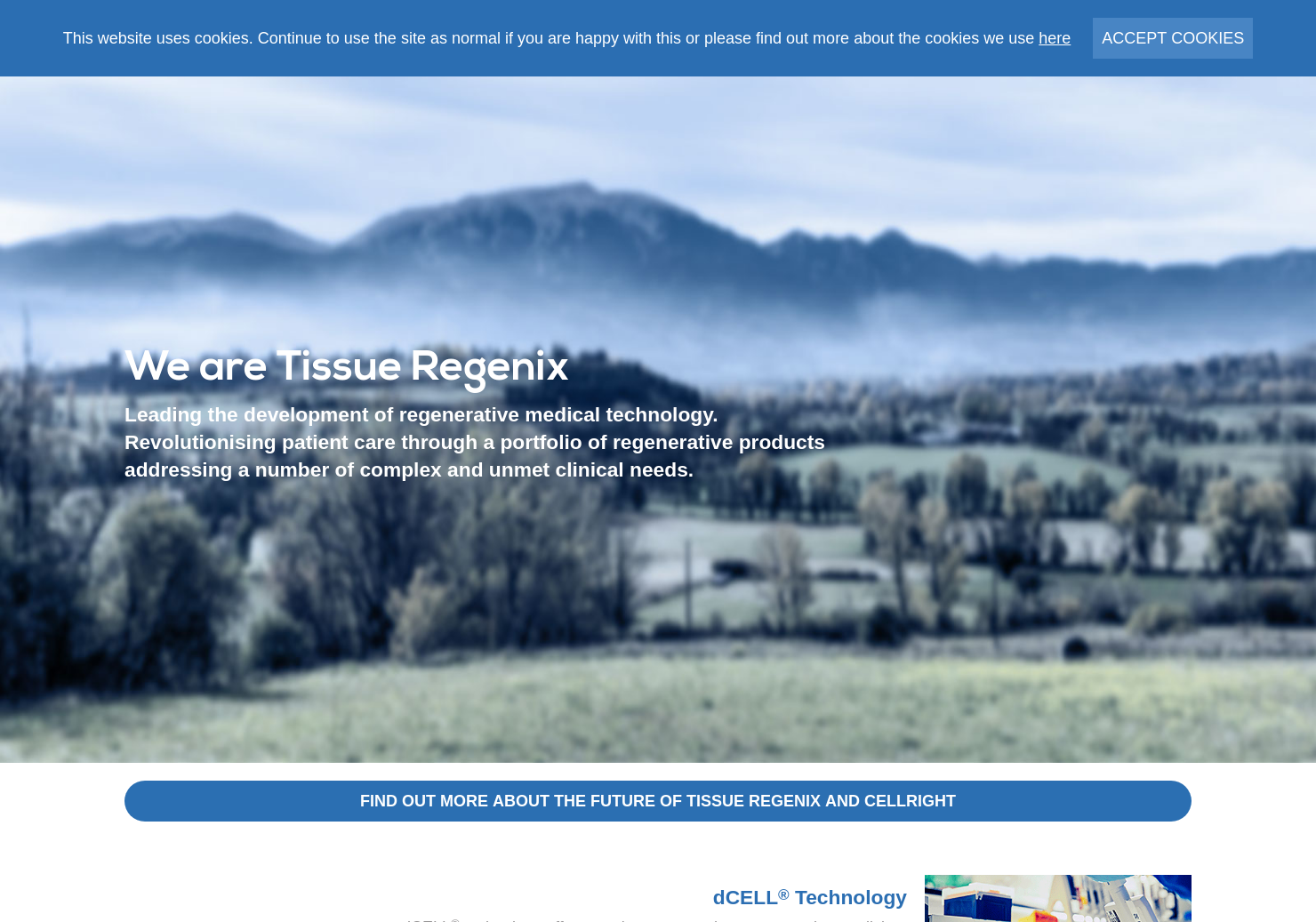 Tissue Regenix Group Home Page