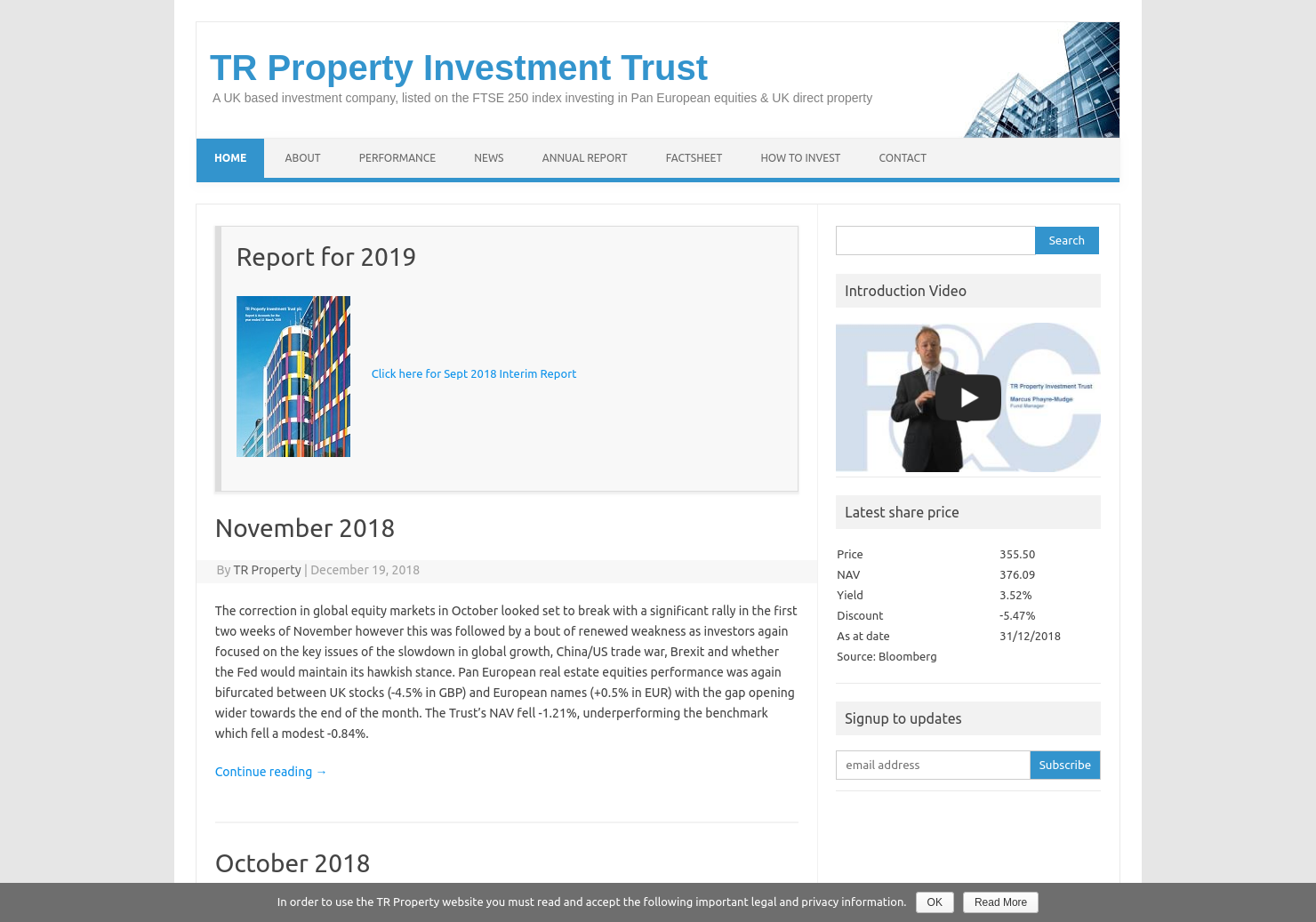 TR Property Investment Trust Home Page