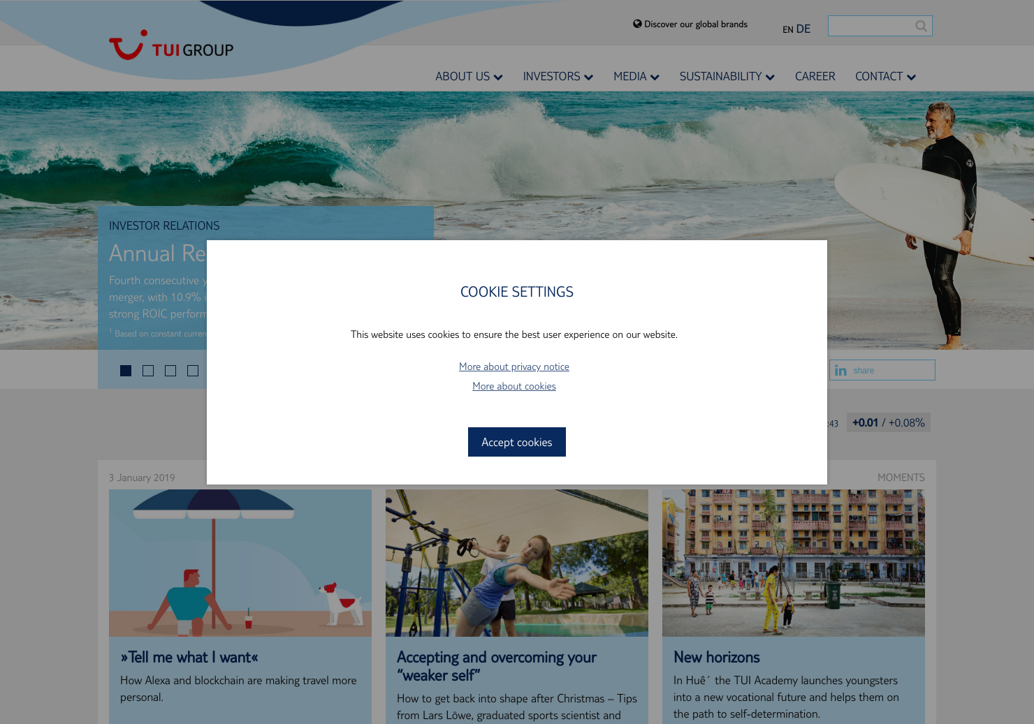 TUI AG Home Page