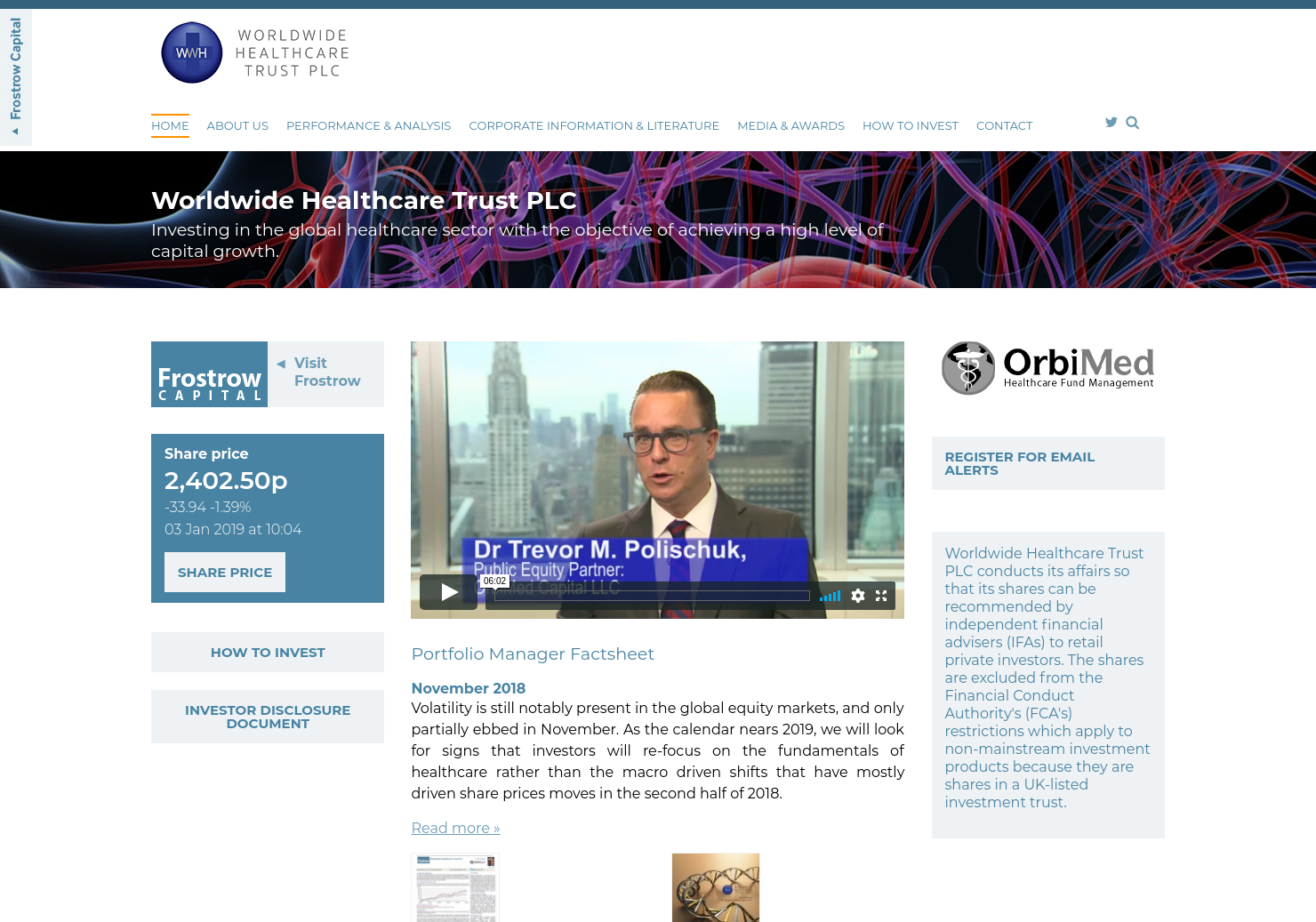 Worldwide Healthcare Trust Home Page